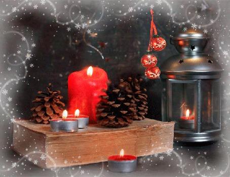 Анимация Книга, горящие свечи, сосновые шишки, фонарь с горящей свечой внутри и красные шарики, (Теплой зимы), автор Лилия