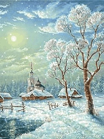 Анимация Деревня в зимнее время года на фоне снега и леса