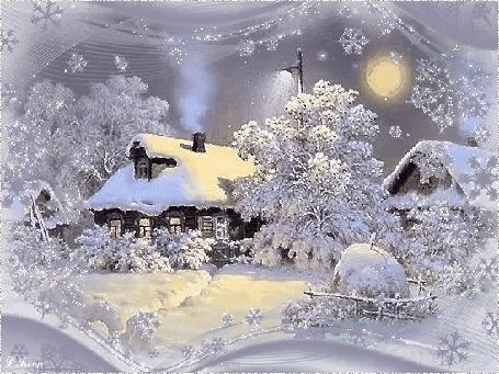 Картинки анимация ангел на месяце зимой