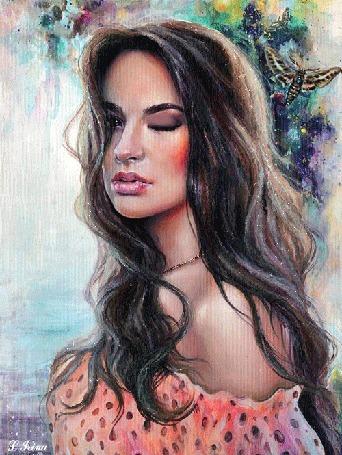 Анимация Красивая девушка с распущенными волосами на фоне бабочки, by L. Grina