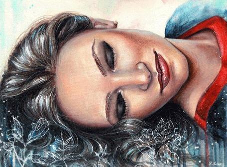 Анимация Девушка с голубыми глазами с улыбкой на губах, by L. Grina