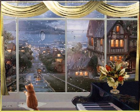 Анимация Рыжий котенок смотрит в окно, за которым идет дождь, едут трамваи и ходят люди с зонтами