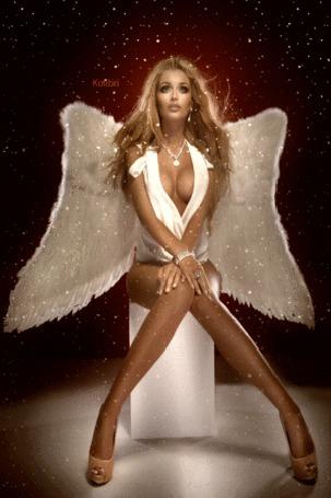 Анимация Гламурная девушка с ангельскими крыльями, by Kolibri
