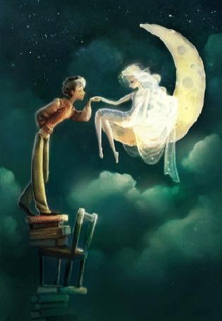 Анимация Соорудив шаткую конструкцию из стульев и книг парень дотянулся до ручки девушки, сидящей на луне