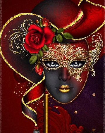 Анимация Венецианская маска со сверкающей красной розой и моргающими глазами