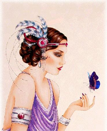 Анимация У девушки с перьями в волосах, порхает над рукой синяя бабочка