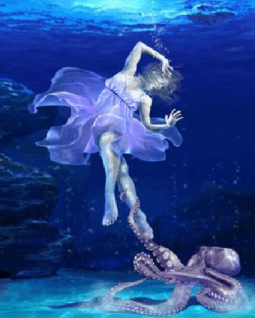 Анимация Девушку под водой схватил спрут