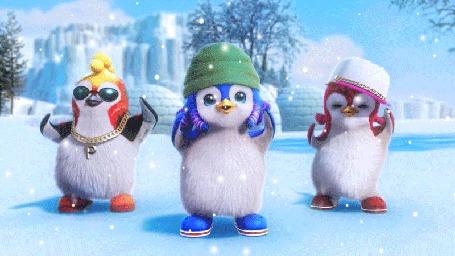 Анимация Веселые пингвины танцуют на снегу