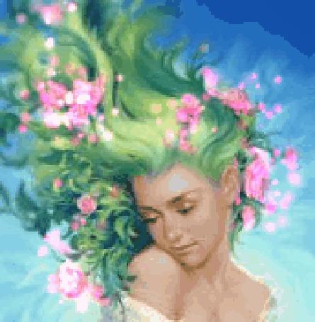 Русалка с зелёными волосами