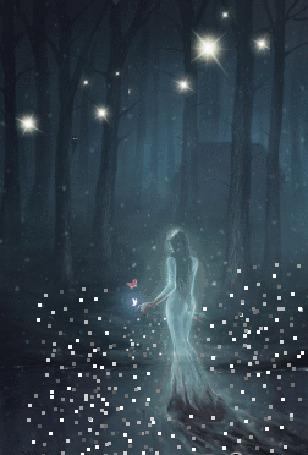 Анимация Девушка в длинном платье стоит перед лесом ночью (© zmeiy), добавлено: 23.01.2016 21:35