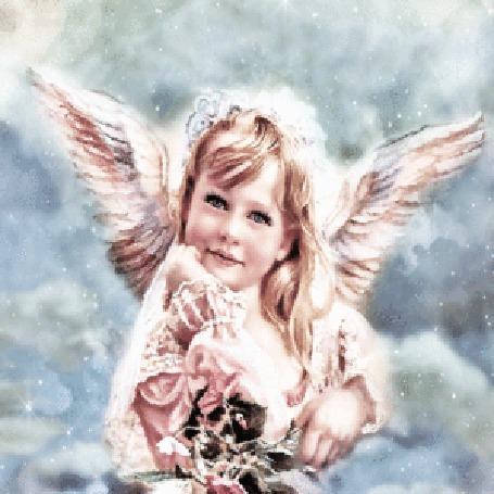 Анимация Ангельская девочка с крылышками