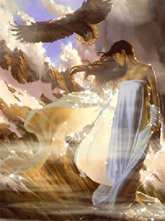 Анимация Девушка на фоне неба с орлом