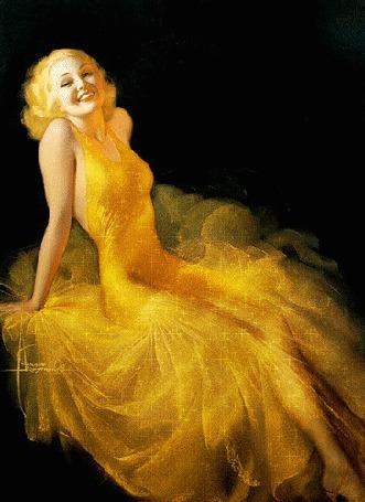 Анимация Улыбающаяся девушка в желтом платье
