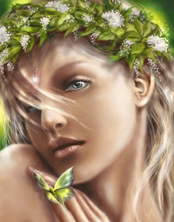 Анимация Девушка в венке из зеленых листьев и белых цветов, у которой на руке сидит зеленая бабочка