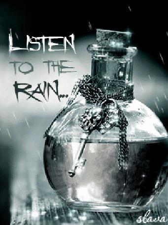 Анимация Дождь капает на баночку с украшениями, привязанными к ней (listen to the rain / прислушайся к дождю)