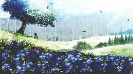 Анимация Эрен Йегер и Микаса Аккерман сидят под деревом, момент из аниме Attack on Titan / Атака Титанов