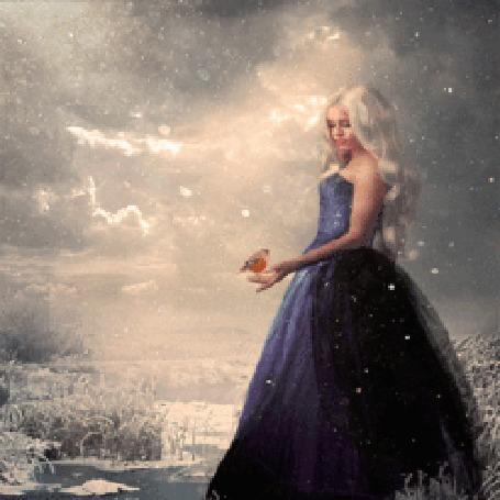 Анимация Девушка с птичкой в руке на фоне грозового неба