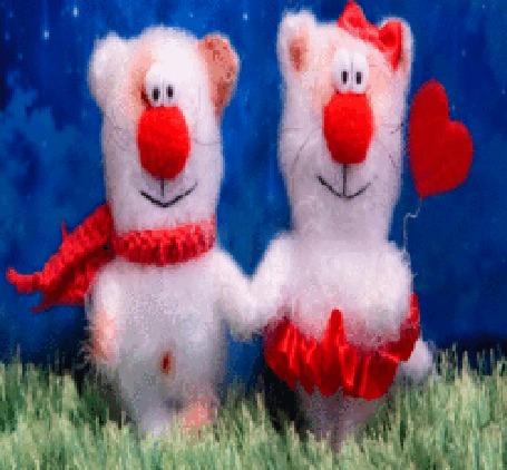 Анимация Два влюбленных медведя с красным сердечком