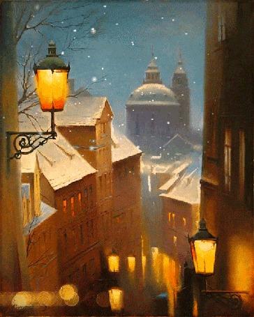 Анимация Зимний город в сиянии фонарей, by Mira (© Ловетта), добавлено: 02.02.2016 10:24
