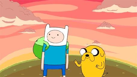 Анимация Джейк запрыгивает Финну на шею, мультфильм Adventure Time / Время Приключений (© Anatol), добавлено: 02.02.2016 14:27