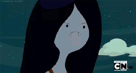 Анимация У Марселин / Marceline из глаз извергается пламя, мультсериал Adventure Time / Время Приключений