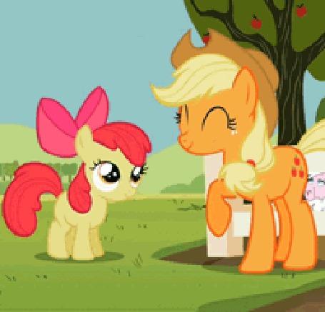 Анимация Эпплджек / Applejack со своей сестренкой Эппл Блум / Apple Bloom из мультсериала Мои маленькие пони: Дружба – это Чудо / My Little Pony: Friendship is Magic / MLP:FiM