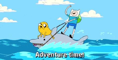 Анимация Финн и Джейк несутся по морю на дельфине, мультсериал Adventure Time / Время Приключений (Adventure Time!)