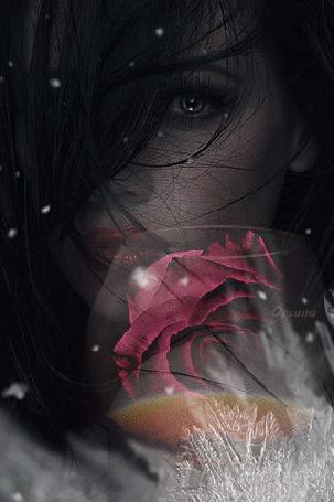 Анимация Девушка с розой стоит под падающим снегом, Оrsana
