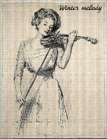 Анимация Девушка играет на скрипке на фоне открывающегося листа с нотами, из-под которого вылетают снежинки, (Winter melody / зимняя мелодия), автор Leila