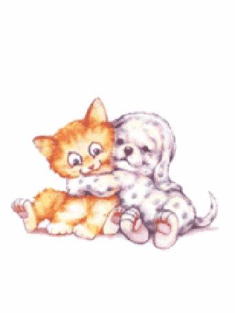 Анимация Рисованная собака обнимает рисованного кота на белом фоне