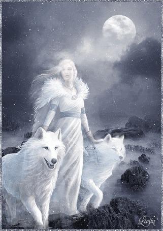 Анимация Призрачная девушка с белыми волками туманной ночью в свете луны, by Sivila
