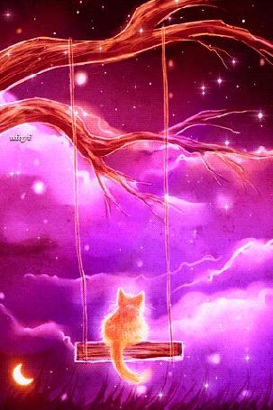 Анимация Рыжий котик сидит на качелях, а мимо пролетают звезды и месяц, by nfgyf (© NoFan), добавлено: 04.02.2016 17:56