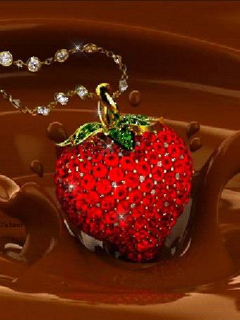 Юбилеем лет, гифка клубника в шоколаде