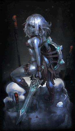 Анимация Девушка воин с мечом в одной руке и щитом в другой, на фоне падающего снега, работа Night Hunter / ночной охотник, by moofart-moof