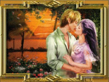 Анимация Парень с девушкой целуются на фоне красивого заката с морем