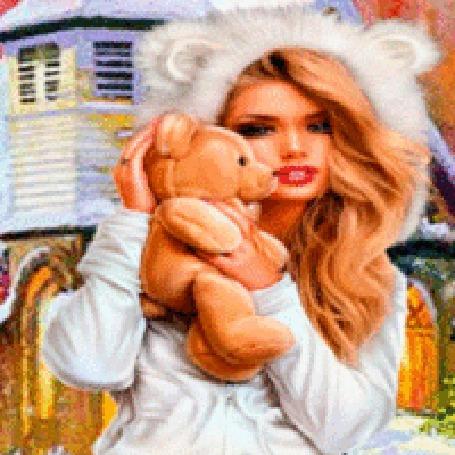 Анимация Девушка в капюшоне с ушками и мишкой
