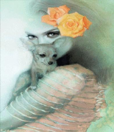 Анимация Девушка с цветами в прическе и песиком