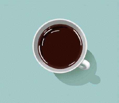 Анимация Блики на поверхности кофе в чашке