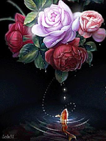 Анимация Красивый букет роз и рыбка в воде (© zmeiy), добавлено: 10.02.2016 17:46