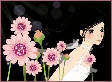 Анимация Девушка в цветах (© zmeiy), добавлено: 12.02.2016 15:23