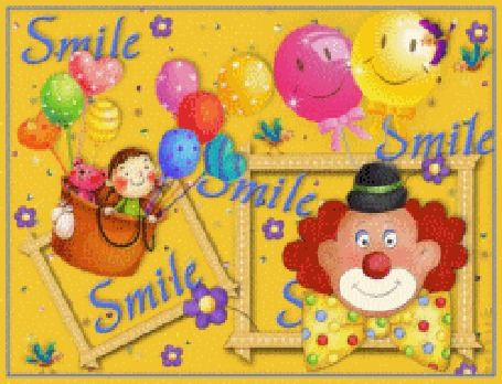 Анимация Смеющийся клоун на желтом фоне с воздушными шариками (smile)