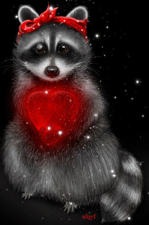Анимация Енот с мерцающим красным сердцем (© Bonderos), добавлено: 13.02.2016 18:54