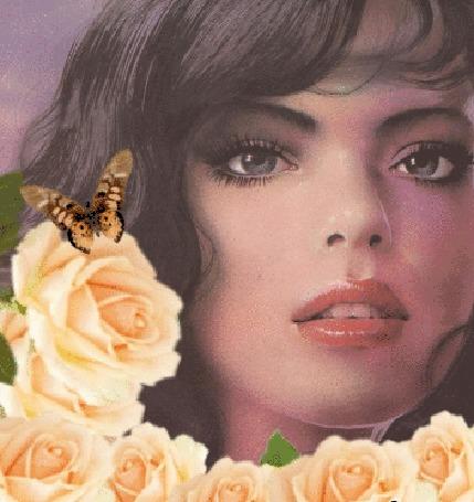 Анимация Девушка с розами и бабочкой на одной из роз (© zmeiy), добавлено: 15.02.2016 00:21