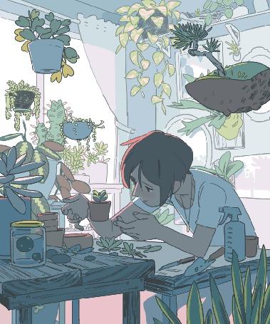 Анимация Парень смотрит на растение