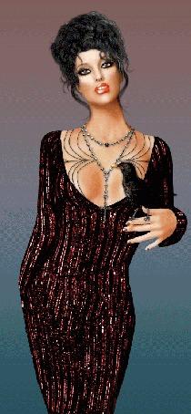 Анимация Дама в переливающемся платье с птицей