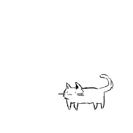 Анимация Нарисованный кот взлетает