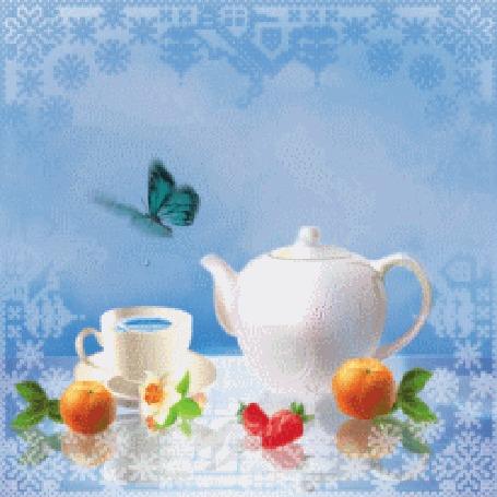 Анимация На столе стоит чайник, чашка чая, лежат апельсины и клубника на голубом фоне с летающей бабочкой (Доброе утро) (© irina.marianna1), добавлено: 19.02.2016 12:53