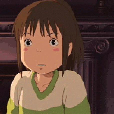 Анимация Chihiro Ogino / Тихиро Огино из аниме Spirited Away / Унесенные призраками, корчит гримасы