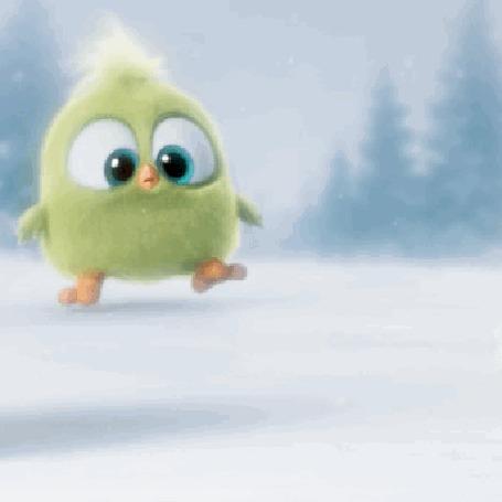 Анимация Пушистый птенец из рождественского ролика Angry Birds бежит по снегу