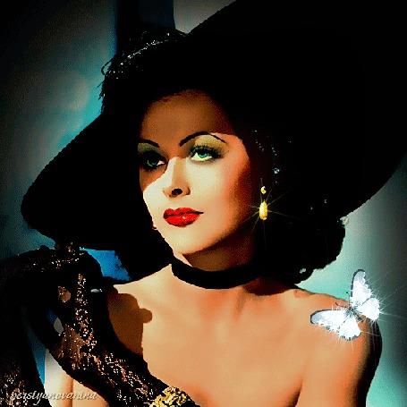 Анимация Актриса Hedy Lamarr / Хеди Ламарр в шляпе с бабочкой на плече